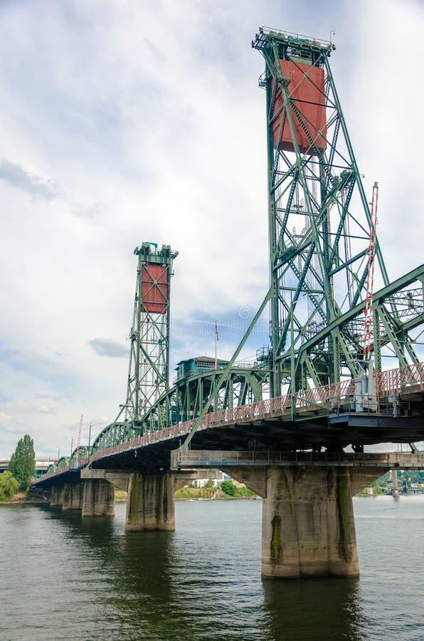 Hawthorne Bridge. View of the Hawthorne Bridge crossing the Willamette River in Portland, Oregon royalty free stock images
