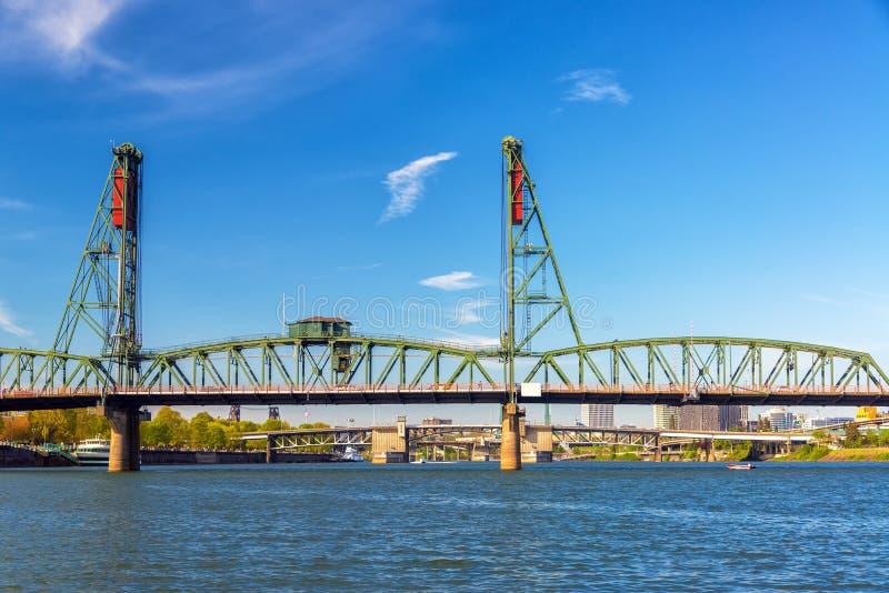 Hawthorne Bridge View. View of the Hawthorne Bridge in downtown Portland, Oregon royalty free stock photography