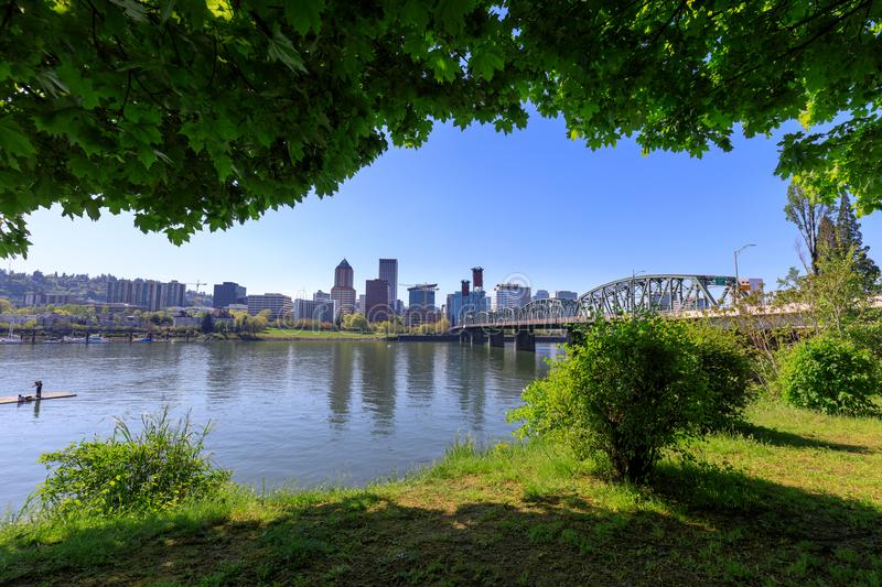 Hawthorne bridge on Willamette river. With cityscape and skyline in portland royalty free stock images
