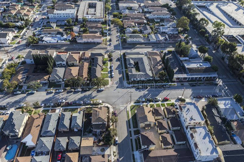 Hawthorne California Rooftops and Streets Aerial. Afternoon aerial view of Hawthorne streets and rooftops in Los Angeles County, California royalty free stock photos