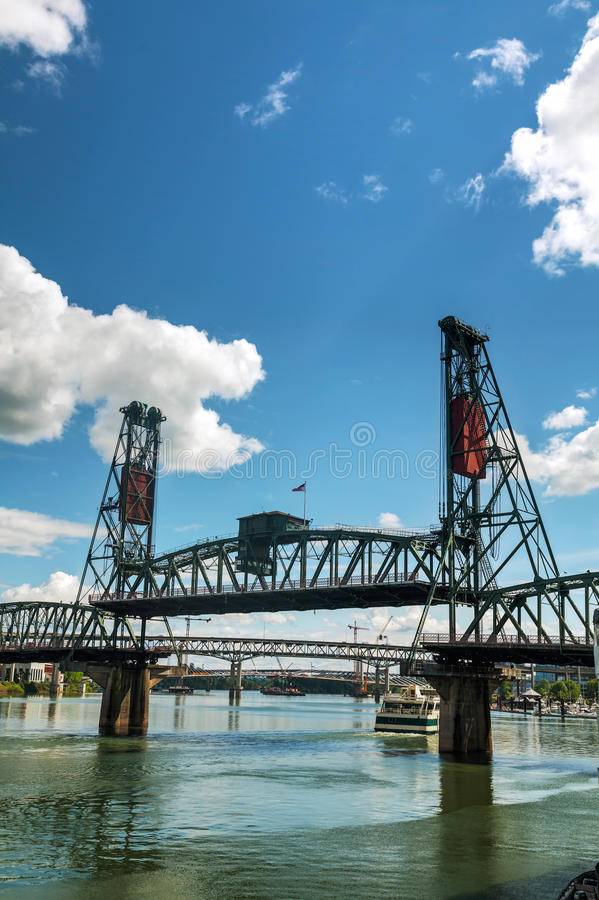 Hawthorne drawbridge in Portland, Oregon. Overview of Hawthorne drawbridge in Portland, Oregon royalty free stock images