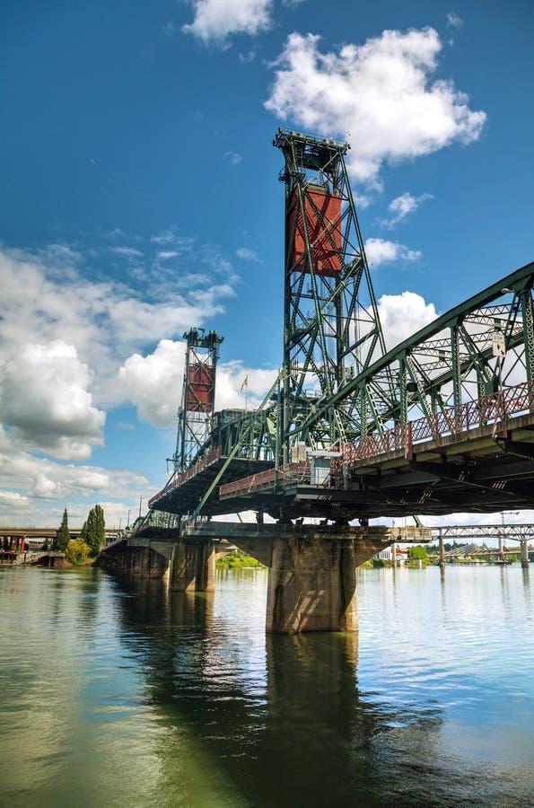 Hawthorne drawbridge in Portland, Oregon. Overview of Hawthorne drawbridge in Portland, Oregon stock photos