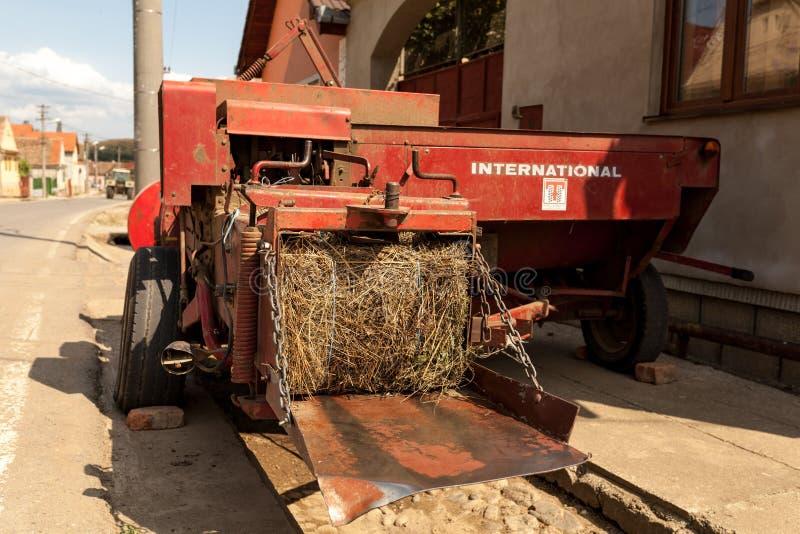 Hay bale machine royalty free stock photos