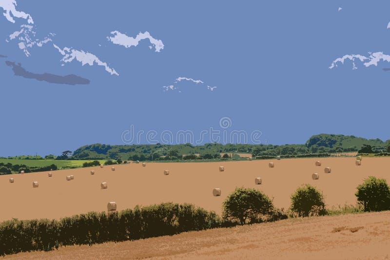 Hay Bales en el arte rural de Norfolk Digital foto de archivo