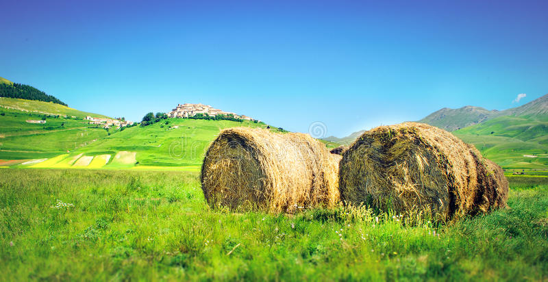 Hay bales painting landscape stock photos