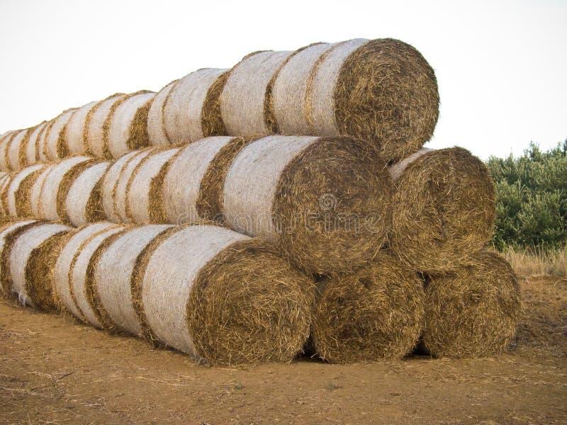 Hay bales pyramid stock photos