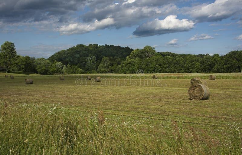 Hay Bales su Indiana Farm fotografie stock libere da diritti