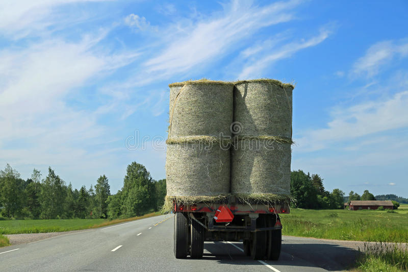 Hay Bales Transport on Tractor Trailer royalty free stock photography
