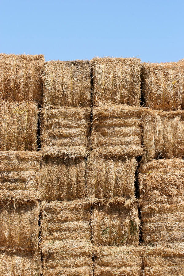 Download Hay Bales Wall Against Blue Sky Stock Photography - Image: 179842