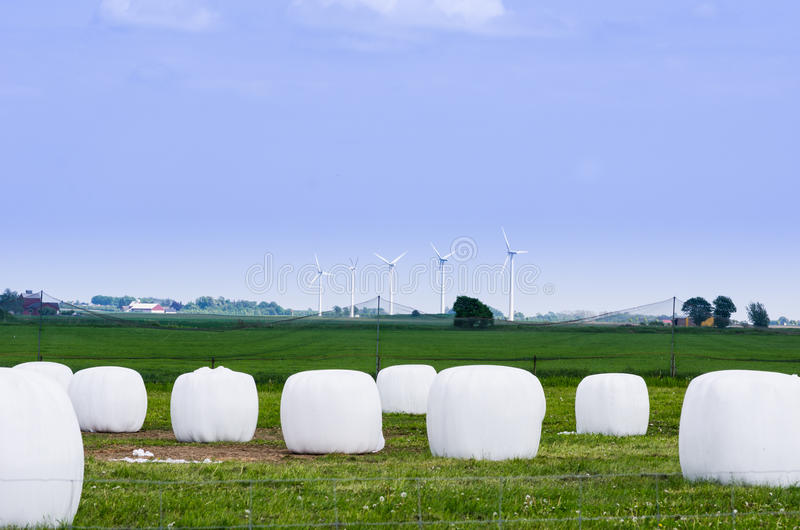 Hay bales and windturbines royalty free stock photography