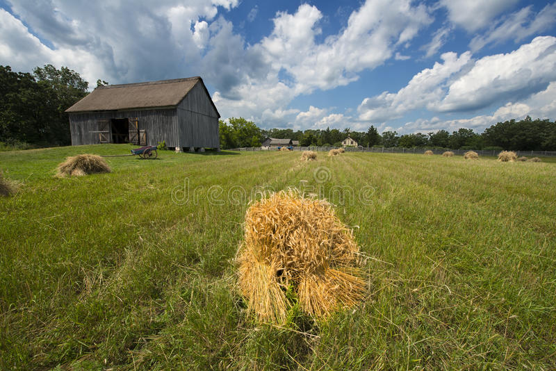 Hay and Barn on Old Vintage Wisconsin Dairy Farm royalty free stock image