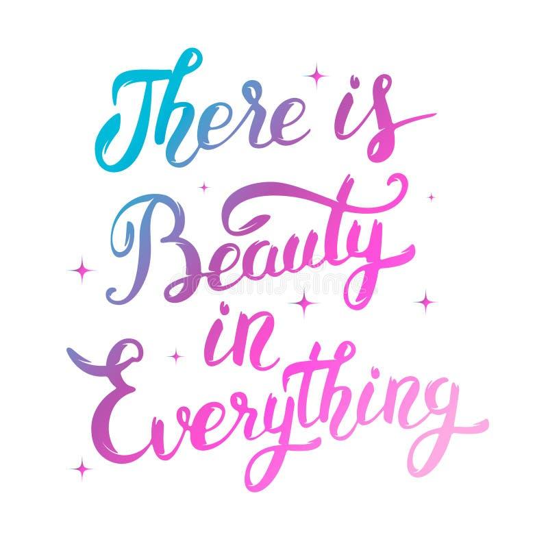 Hay belleza en todo Mano colorida dibujada letra la ISO ilustración del vector