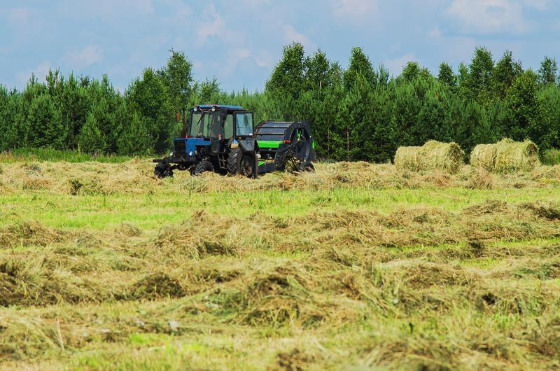 Hay harvesting with the help of special equipment. Tractor with baler discharges for hay harvesting in the field royalty free stock images
