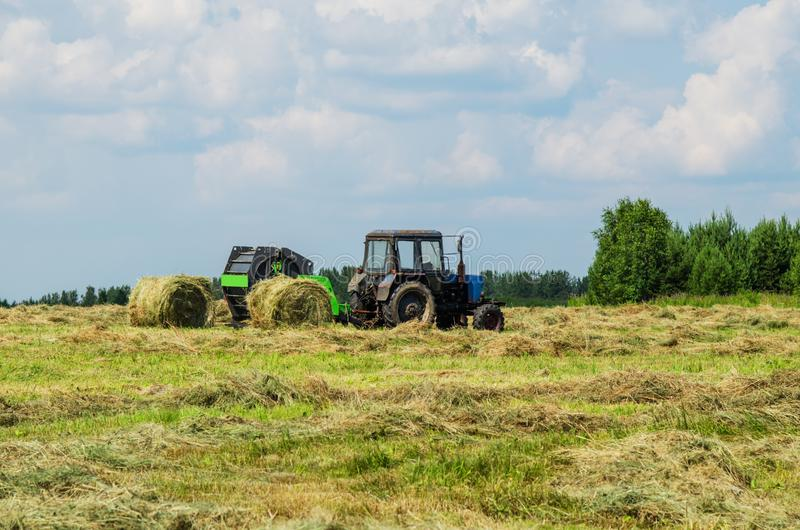 Hay harvesting on a summer day. Tractor with pick-up for hay harvesting in the field on a summer evening royalty free stock image