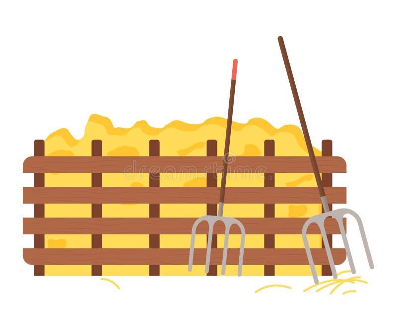 Hay Protected met Houten Omheining, Hooivorkhulpmiddel royalty-vrije illustratie