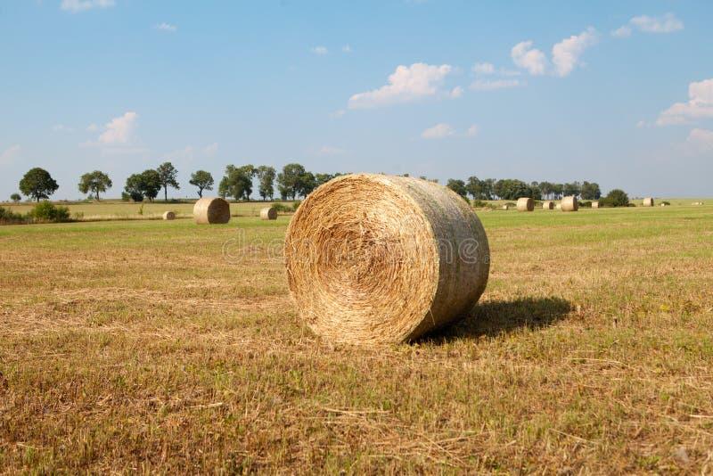 Hay Roll On una granja imagen de archivo