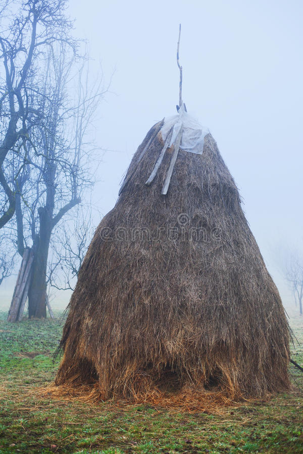 Hay Stack In Foggy Day Royalty Free Stock Photography