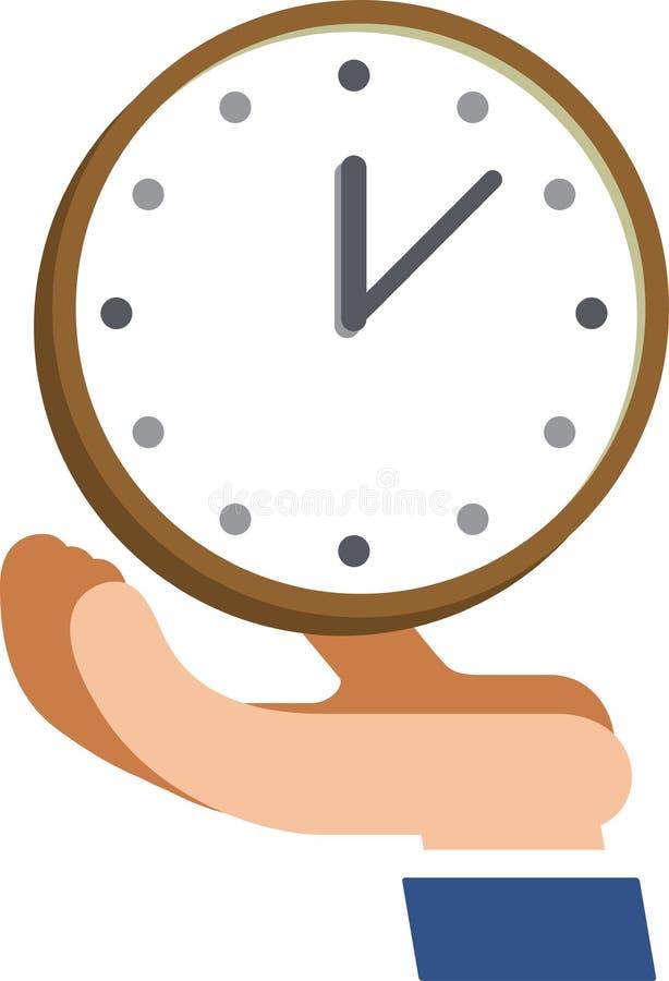 Hay un reloj en la palma ilustración del vector
