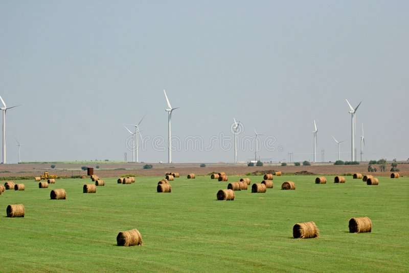 Hay and wind farm royalty free stock images