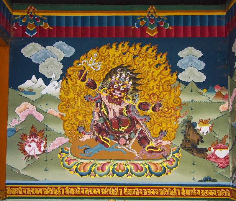 Hayagriva wrathful form av Avalokitesvara, väggmålning av Trashi Chhoe Dzong, Thimphu, Bhutan fotografering för bildbyråer