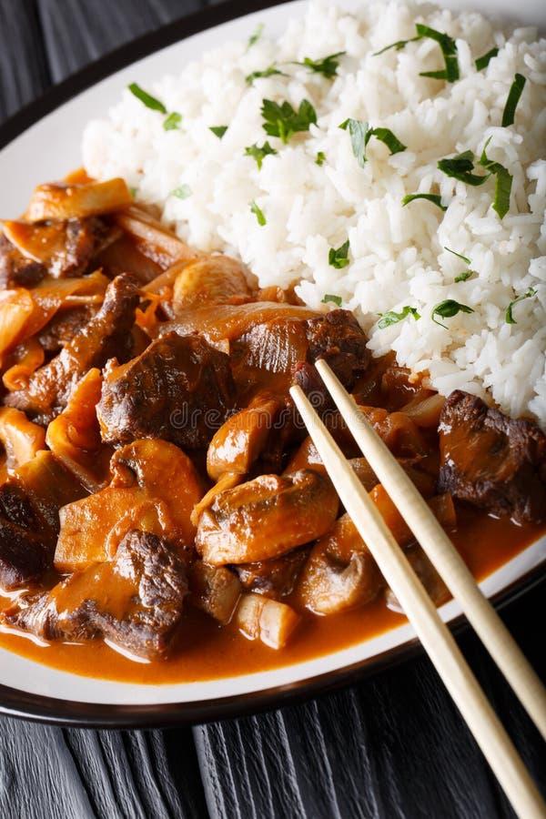 Hayashi Japanese-Reis mit Rindfleisch, Zwiebeln und Pilznahaufnahme O stockfotos