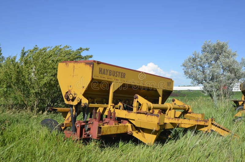 Haybuster seed drill. JAMESTOWN, NORTH DAKOTA, July 3, 2016 DuraTech Industries International, Inc. originally Haybuster Manufacturing, the builder of the stock photo