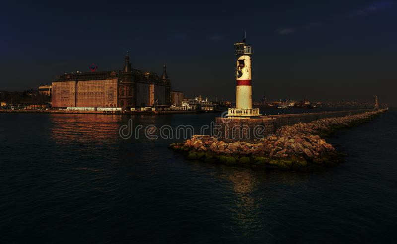 03,23,2019,kadikoy,istanbul,Turkey,Haydarpasa Station and Lighthouse,Istanbul,Turkey royalty free stock photos
