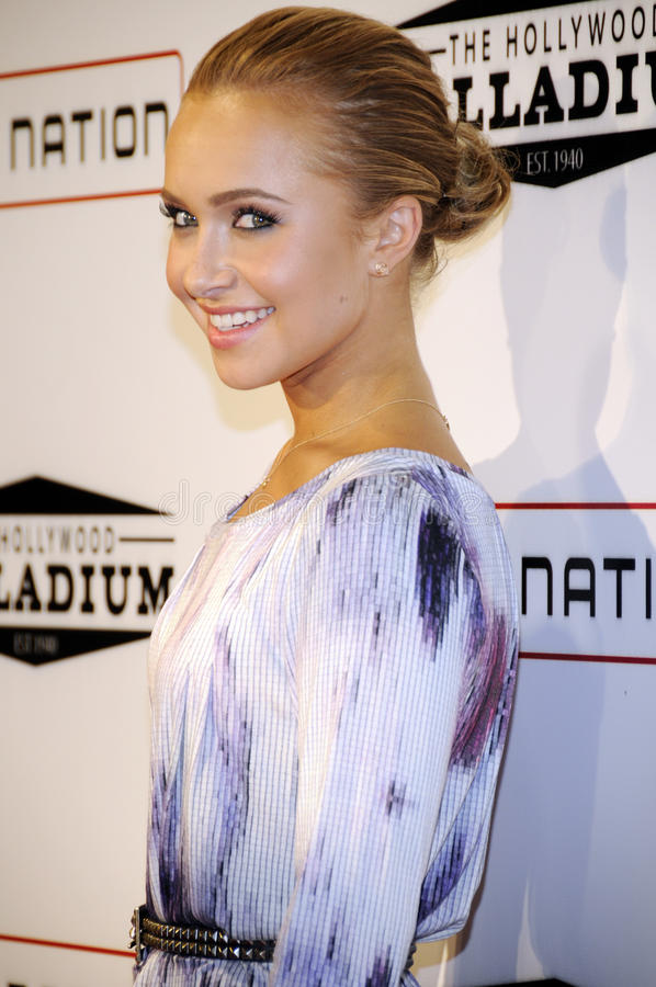 Hayden Panettiere on the red carpet. Hayden Panettiere attending the Grand Re-Opening of the Hollywood Palladium headlined by Jay-Z in Hollywood royalty free stock images