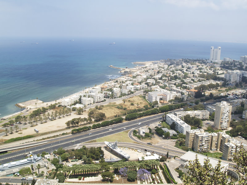 Hayfa - aerial view. Aerial view on Hayfe in Israel stock images