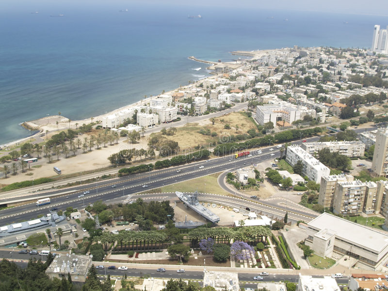 Hayfa town - aerial view. Aerial view on Hayfa twon in Israel stock image