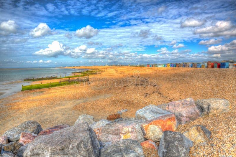 Hayling在波兹毛斯汉普郡五颜六色的hdr的英国英国附近的海岛海滩 库存照片