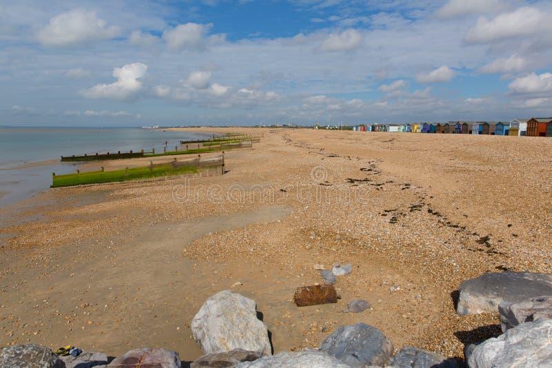 Hayling östrand nära den Portsmouth sydkusten av England UK arkivfoto