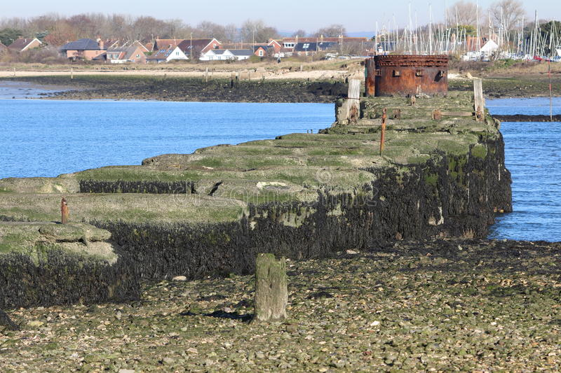 Hayling Billy Tram foundations. Hayling Island tram called `The Hayling Billy `foundations started 1890 and ceased in 1973 when the road was built after lack of royalty free stock images