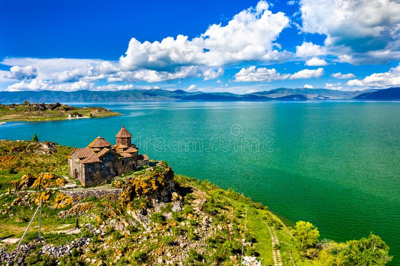 Hayravank monastery on the shores of lake Sevan in Armenia. Aerial view of Hayravank monastery on the shores of lake Sevan in Armenia royalty free stock images