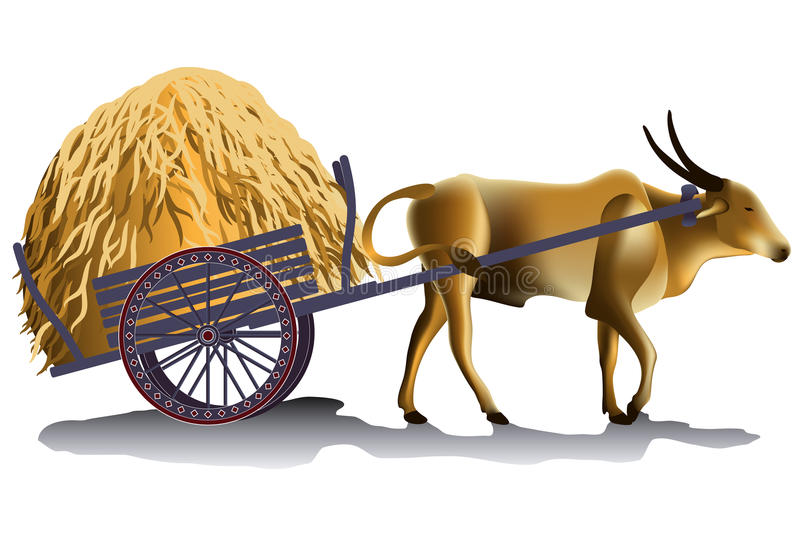 Hayrick in the buffalo cart vector illustration. Harvesting time in the countryside vector illustration