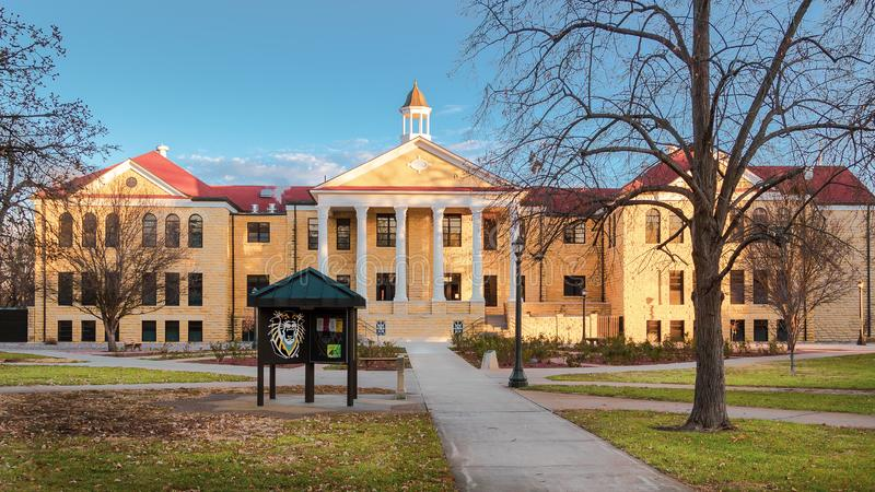 Hays, KS USA - The Iconic Picken Hall on the Campus of Fort Hays State University FHSU in Hays, Kansas. The Iconic Picken Hall on the Campus of Fort Hays State stock images