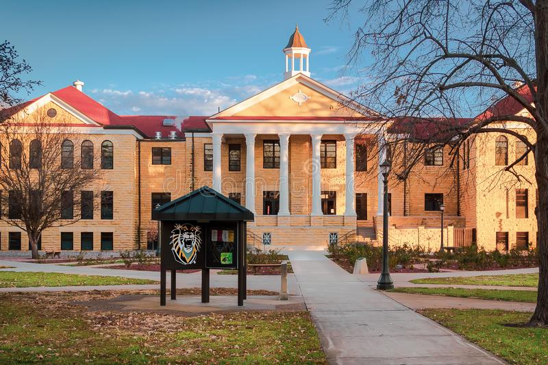 Hays, KS USA - The Iconic Picken Hall on the Campus of Fort Hays State University FHSU in Hays, Kansas. The Iconic Picken Hall on the Campus of Fort Hays State royalty free stock photography
