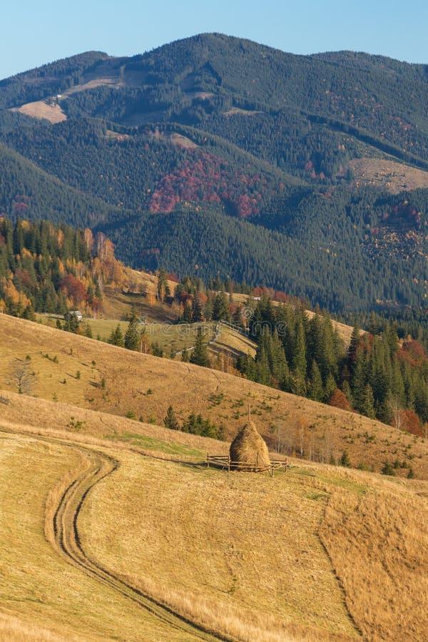 Haystack on beautiful autumn landscape in Carpathian mountain in sunny autumn day royalty free stock photo
