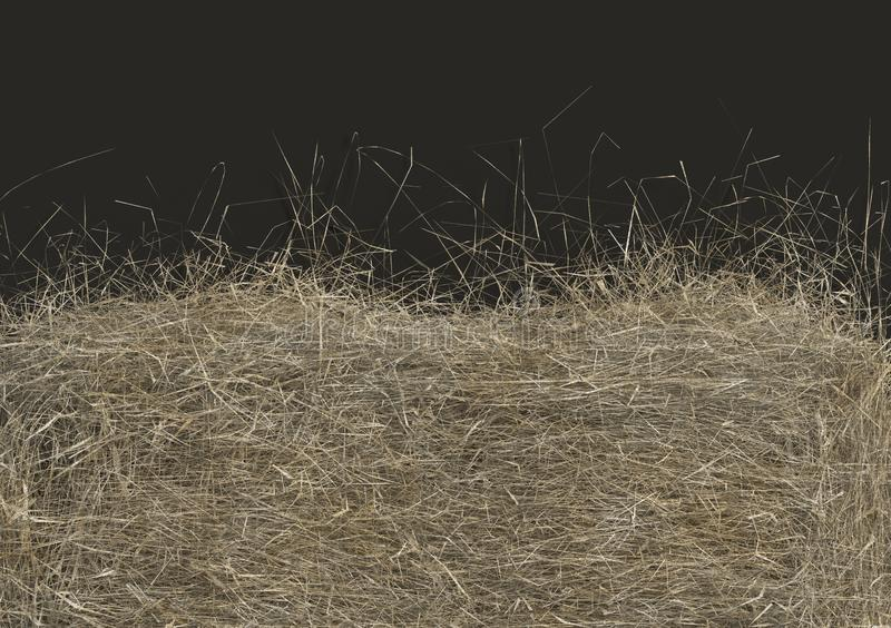 Haystack closeup isolated on black background with copy space. Top view. 3D render of straw. Haystack closeup isolated on black background with copy space. Top royalty free illustration