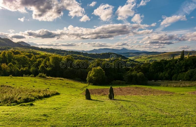 Haystack on fields in mountainous rural area royalty free stock photos