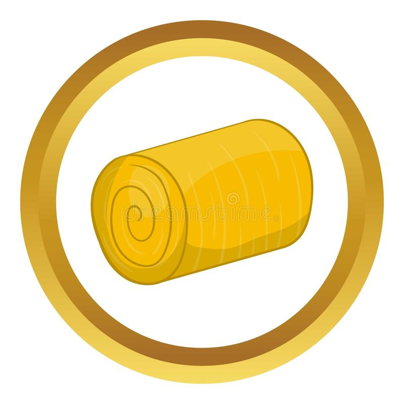 Haystack icon. In golden circle, cartoon style isolated on white background royalty free illustration