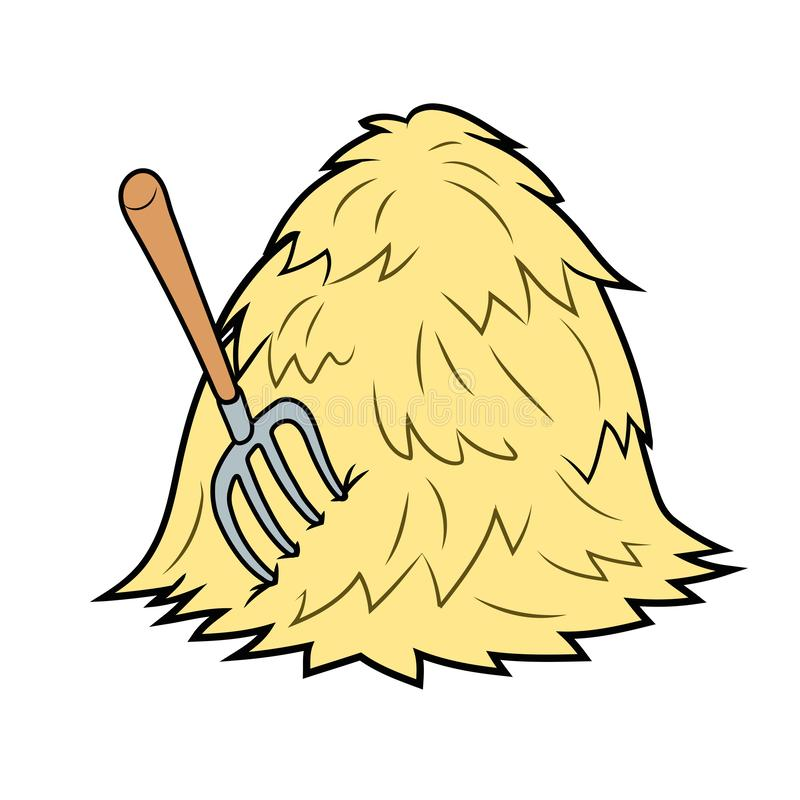 Haystack with pitchfork. Illustration of a haystack with pitchfork on white background stock illustration
