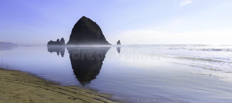 Haystack Rock in Cannon beach, Tourist attraction in Oregon. Haystack Rock in Cannon beach, Tourist attraction in Clatsop County, Oregon stock photography