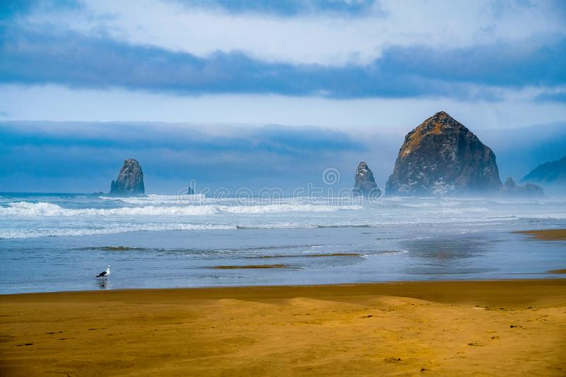 Haystack Rock from Canon Beach royalty free stock photo