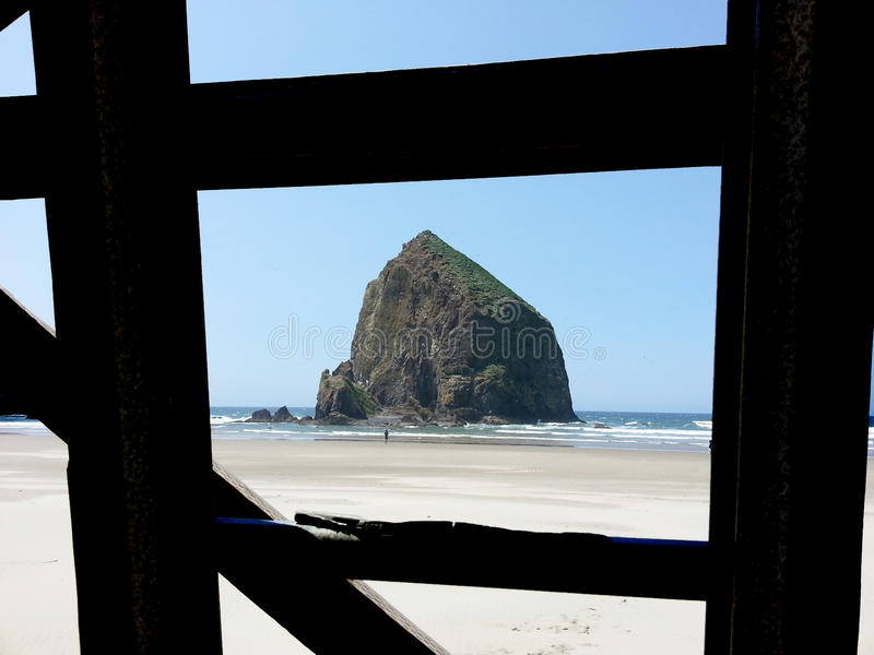 Haystack Rock Formation Oregon royalty free stock images