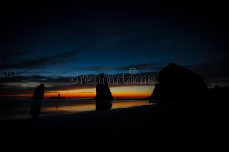 Haystack rock in Oregon stock images