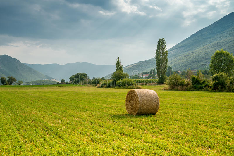 Haystack of straw in the meadow, Greece. Big round haystack of straw in the meadow, Greece stock photography