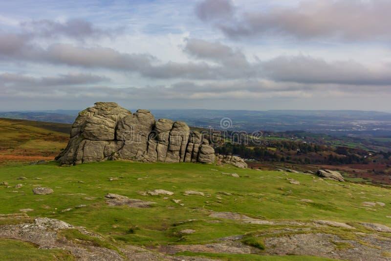 Haytor bascule en parc national de Dartmoor photos stock