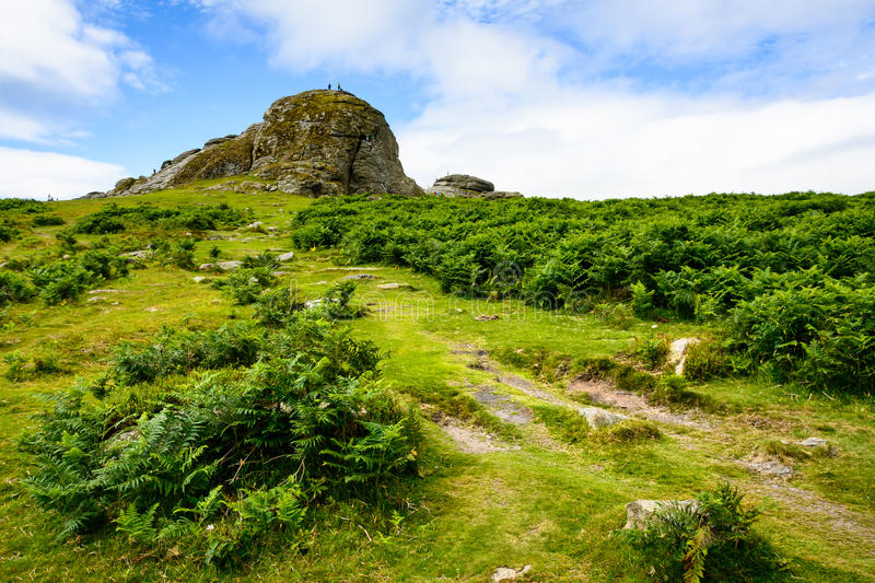 Haytor Rocks, Dartmoor. The massive rock towers in the background and dominate the barren and yet green landscape of Dartmoor National park in Southern England stock photo