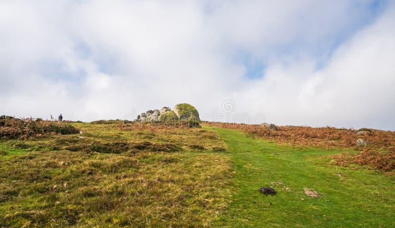 Haytorrotsen in Dartmoor, Devon, het UK stock foto